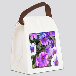 Purple and Blue Petunias Canvas Lunch Bag